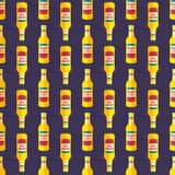 Pop art beer bottle seamless pattern. Vector colored pop art style yellow beer bottle seamless pattern on dark blue background stock illustration