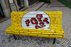 The Pop art bench. Painted bench in Águeda, Portugal stock photos