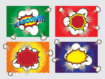 Pop Art Big Explosion Effects Design Elements. Illustration of four different explosion effects in pop art comic cartoon style Stock Photography