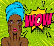 Pop art black girl wow face towel head. Beautiful sexy black african girl hair wow oops face open mouth in style pop art towel head. Comic book retro halftone Stock Images