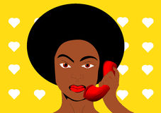 Pop art black woman. Beautiful pop art black woman with a red phone Stock Image