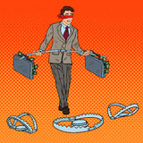 Pop Art Blindfolded Businessman Walking with Money Over the Traps. Investment Risk. Vector illustration Stock Photo