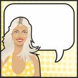 Pop Art blonde girl. Talking Stock Photography