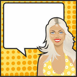 Pop Art blonde talking Royalty Free Stock Photo