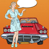 Pop Art Blonde Woman with Car Keys Stock Images