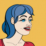 Pop art blue hair girl Stock Photos