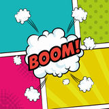 Pop art boom text bubble speech color background Royalty Free Stock Photography