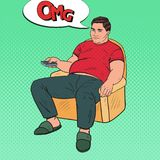 Pop Art Bored Fat Man Watching TV with Remote Controller. Unhealthy Food Royalty Free Stock Images