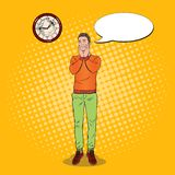 Pop Art Boring Young Man Looking at the Clock. Facial Expression. Tired Guy. Vector illustration Royalty Free Stock Images