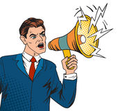 Pop art boss business leader and megaphone vector illustration Royalty Free Stock Photos