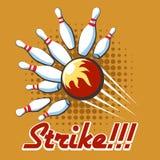 Pop art bowling strike poster Stock Photos