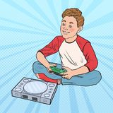 Pop Art Boy Playing Video Game. Kid with Control Console Stock Photos