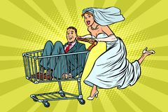 Pop art Bride and groom in a shopping trolley stock illustration