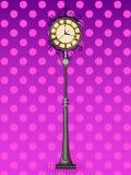 Pop art bronze vintage street clock with arabic numerals. Comic book style imitation. Vintage retro style. Conceptual. Illustration stock illustration