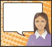 Pop Art brunette talking. Pop Art brunette and a framework for speech Stock Photos