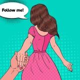 Pop Art Brunette Woman Holding Hands Volg me Reisconcept royalty-vrije illustratie