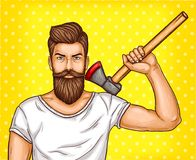 Pop art brutal bearded man, macho with an ax in his hand. Pop art illustration of a brutal bearded man, macho with an ax in his hand Stock Photo