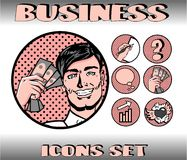 Pop Art Business Icons Set. Businessman Royalty Free Stock Images