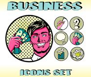 Pop Art Business Icons Set Businessman Stock Photography
