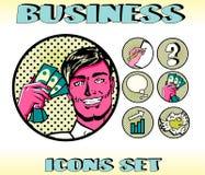 Pop Art Business Icons Set Businessman Stock Photography