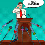 Pop Art Business Man Giving Press Conference. Mass Media Interview. Vector illustration Royalty Free Stock Photo