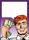 Pop Art Business Man with Money Royalty Free Stock Photo