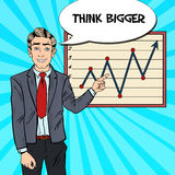 Pop Art Business Man Pointing Growth Graph. Business Presentation Stock Photos