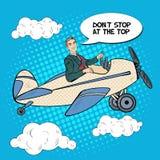 Pop Art Business Man Riding Airplane met Grappige Toespraakbel vector illustratie