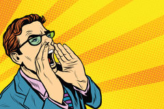 Pop art business man screaming Royalty Free Stock Images
