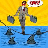Pop Art Business Man Walking on the Rope with Two Money Briefcase Over the Sea with Sharks Royalty Free Stock Image