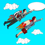 Pop Art Business People Flying on Rockets. Creative Start Up Concept Royalty Free Stock Image
