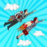 Pop Art Business People Flying on Rockets to Success. Creative Start Up Concept Royalty Free Stock Image