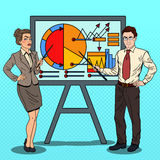 Pop Art Business People with Pointer Stick Royalty Free Stock Image