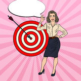 Pop Art Business Woman Achieved the Target Stock Image