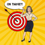 Pop Art Business Woman Achieved the Target Royalty Free Stock Photography