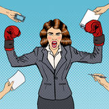 Pop Art Business Woman in Boxing Gloves at Multi Tasking Office Work. Vector illustration Royalty Free Stock Image