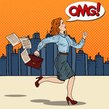 Pop Art Business Woman with Briefcase Running to Work Royalty Free Stock Photo