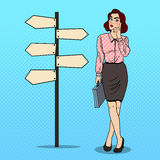 Pop Art Business Woman on Crossroads Pointer Sign. Pop Art Doubtful Business Woman on Crossroads Pointer Sign. Vector illustration Stock Images