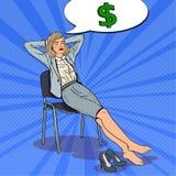 Pop Art Business Woman Dreaming About-Geld royalty-vrije illustratie