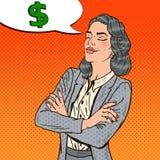 Pop Art Business Woman Dreaming About-Geld stock illustratie