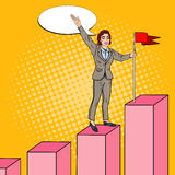 Pop Art Business Woman with Flag on the Top of the Chart Stock Photo