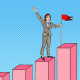 Pop Art Business Woman with Flag on the Top of the Chart Royalty Free Stock Images