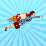 Pop Art Business Woman Flying on Rocket. Creative Start Up Stock Image