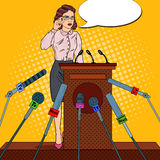 Pop Art Business Woman Giving Press Conference. Mass Media Interview. Vector illustration royalty free illustration