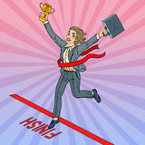 Pop Art Business Woman with Golden Winner Cup Crossing Finish Line. Vector illustration Stock Image