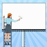 Pop Art Business Woman in Helmet with Blank Billboard. Female Worker Applying Banner. Advertisement Concept. Vector illustration Royalty Free Stock Photos