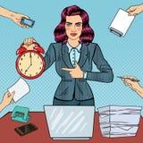 Pop Art Business Woman Holding Alarm Clock Royalty Free Stock Image