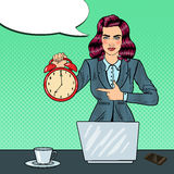 Pop Art Business Woman Holding Alarm Clock at Office Work with Laptop Royalty Free Stock Photography