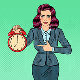 Pop Art Business Woman Holding Alarm Clock Stock Image