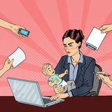 Pop Art Business Woman with Laptop Holding Newborn Baby at Multi Tasking Office Work vector illustration